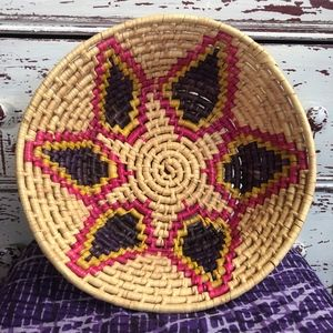 Other - Brightly Dyed Starburst Woven Basket